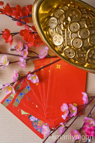 Red Packets (commonly known as 'Ang Pao' in the Hokkien dialect)  with spring flowers and gold ingots (commonly known as 'Yuen Bao' in  Chinese).